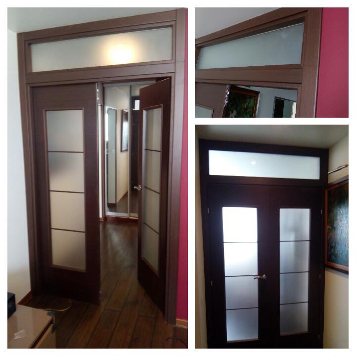 В Люберцах установили двойную распашную дверь с фрамугой. Фрамуга изготовлена из элементов дверной коробки и облицована наличниками с обеих сторон